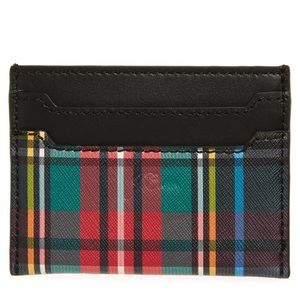 New J.Crew Plaid Leather Card Case, Tartan Plaid